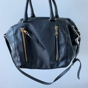 Black faux leather everyday purse
